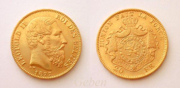 20 Frank 1877 Leopold II.