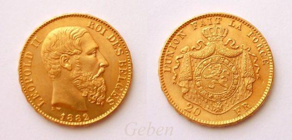 20 Frank 1882 Leopold II.