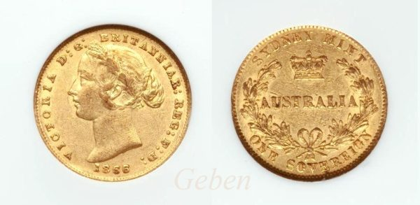 Sovereign 1866 Sydney - Victoria Young Head  AUSTRALIA