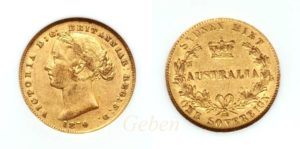 Sovereign 1870 Sydney - Victoria Young Head  AUSTRALIA