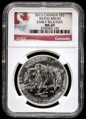 BISON - Stříbrná investiční mince 1 Oz super stav - Certifikace NGC MS69 !