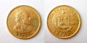 1/2 LIBRA 1907 Peru - Vzácná a krásná