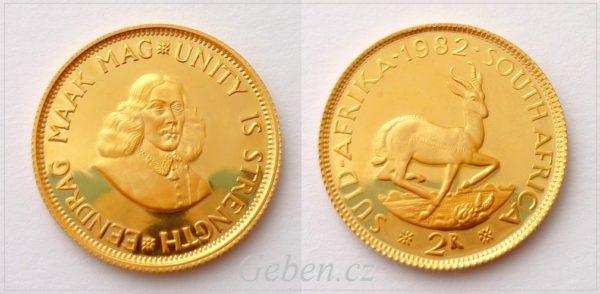 1 + 2 Rand - Jan van Riebeeck South Afrika - Luxusní investiční SADA