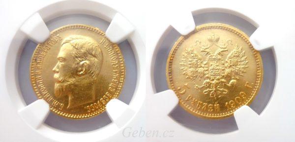 """5 RUBL 1909 Mikuláš II. Vzácný """"R"""" stav - MS 64 !"""