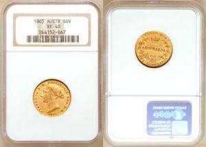 AUSTRALIA Sovereign 1865 (sy) ! Victoria Young Head - VZÁCNÝ