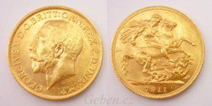 Sovereign 1911 Londýn Král Jiří – Nádherný