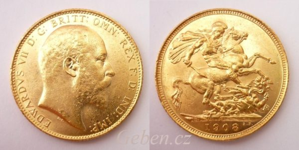 Sovereign 1908 Sydney Král EDWARD