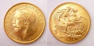 Sovereign 1915 Melbourne Král Jiří - Nádherný