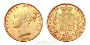 Sovereign 1879 Sy Victoria - Young Head / Štít