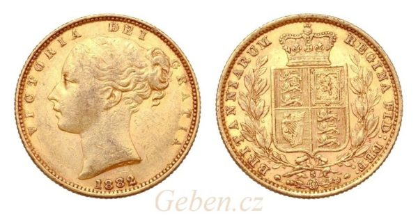 Sovereign 1882 Sy Victoria - Young Head / Štít