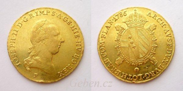 """Vzácné Sovráno 1786 F ! Josef II. """"R"""""""