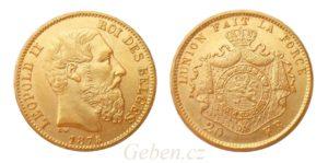 20 Frank 1875 Leopold II. Belgie