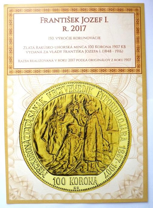 100 Koruna 1907 - 2017 KB KORUNOVAČNÍ - VZÁCNÁ