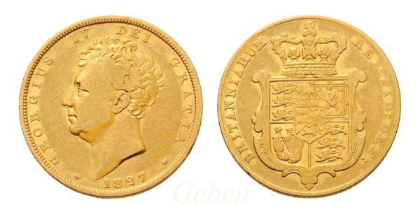 Sovereign 1827 ! George IV. VELMI VZÁCNÝ