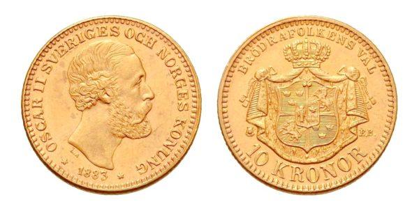 10 KRONOR 1883 Oskar II. Nádherná a vzácná
