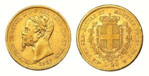 20 LIRA 1857 B Vittorio Emanuele II. Král Sardinie