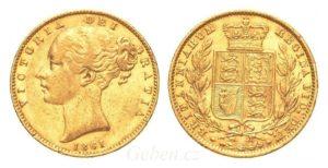 Sovereign 1861 Victoria Shield Vzácný - přeražba 0 na O