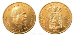 10 Gulden 1875 Nizozemí Willem III.