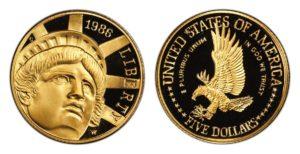 5 Dollars LIBERTY - Socha Svobody 100. výročí - PROOF