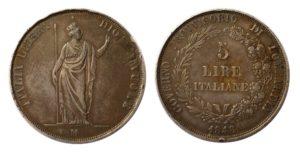 Stříbrná 5 LIRA 1848 M - Varianta : krátké konce ratolestí, hvězda dále od koruny.