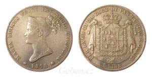 5 LIRA 1815 Maria Luigia - Vzácná