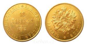 Zlatá 10 MARKKAA 1882 Alexander III. - Finsko pod Ruskem