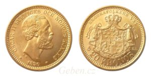 20 KRONOR 1890 Oskar II. Nádherná a vzácná