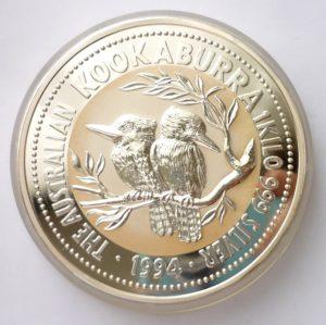 Nádherná stříbrná investiční mince KOOKABURRA 1994 - 1 KILO ! VZÁCNÉ