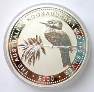 Nádherná stříbrná investiční mince KOOKABURRA 2000 - 1 KILO ! VZÁCNÉ