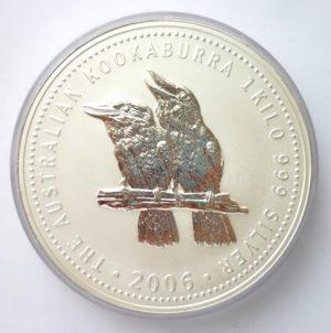Nádherná stříbrná investiční mince KOOKABURRA 2006 - 1 KILO ! VZÁCNÉ