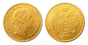 Zlatý dukát František Josef I. Vzácný originál z roku 1852 - mladý portrét !