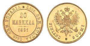 20 MARKKAA 1891 Alexander III. Vzácná !