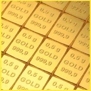 Zlaté investiční slitky 6x 0,5 g - Valcambi Švýcarsko