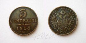 3 CENTESIMI 1852 M Miláno