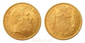 20 Frank 1875 Leopold II. druhý typ