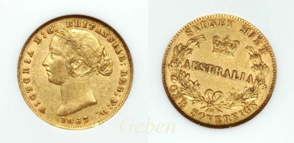 Sovereign 1867 Sydney - Victoria Young Head  AUSTRALIA