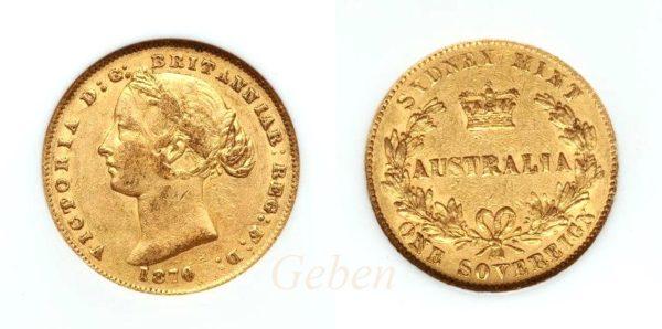 Sovereign 1870 Sydney - Victoria Young Head AUSTRALIA
