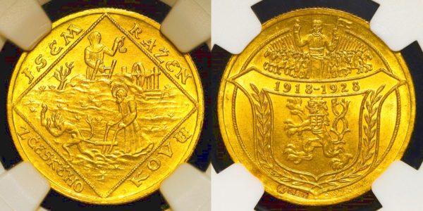 2 Dukát 1928 Jsem ražen z českého kovu - sv. Prokop / sv. Václav