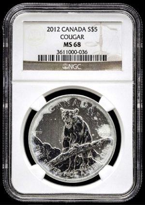PUMA - Stříbrná investiční mince 1 Oz super stav - Certifikace NGC MS 68 !