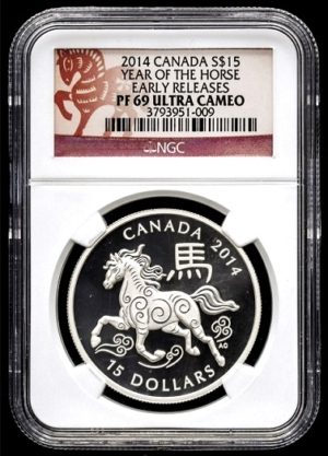 Lunar Calendar  -  Year of the Horse  -  ROK KONĚ  1 Oz super stav - NGC PF69 ULTRA CAMEO !