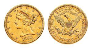 5 Dollars 1880 - LIBERTY Head