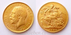 Sovereign 1927 SA král George V. Jižní Afrika