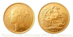 Sovereign 1885 M Victoria - Young Head / sv. Jiří