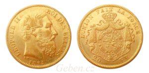 20 Frank 1874 Leopold II. Belgie