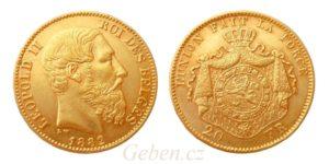 20 Frank 1882 Leopold II. vzácný