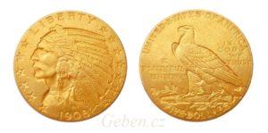 5 Dollar 1908 D ! Indian Head - DENVER - Vzácný
