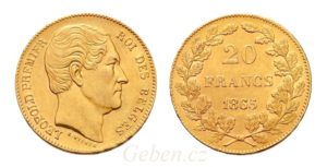 20 Frank 1865 Belgie - zvolený král Leopold I.
