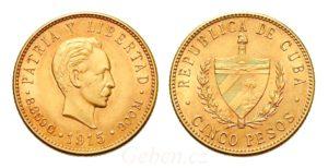 5 Peso 1915 ! CUBA Vzácné
