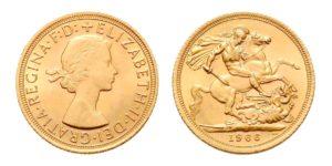 1 Sovereign - Libra 1966 - Královna Alžběta II. / sv. Jiří