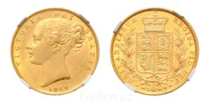 Sovereign 1869 Victoria Young Head Shield č. 16 - NGC MS 61
